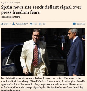 Financial Times echoed the launch of EL ESPAÑOL